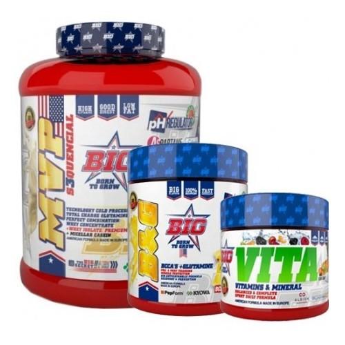 Pack BIG: proteina MVP S3QUENCIAL - 2000g + BCAA 8:4:4 + Glutamina + complejo vitaminico + minerales + ph regulador